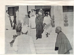Da sahib, Indira Gandhi and jeeji coming out of  Kamla Nehru Vidaylaya